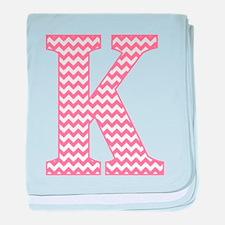 Pink Chevron Letter K Monogram baby blanket
