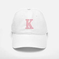 Pink Chevron Letter K Monogram Baseball Baseball Cap