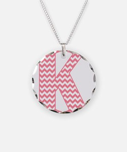 Pink Chevron Letter K Monogr Necklace