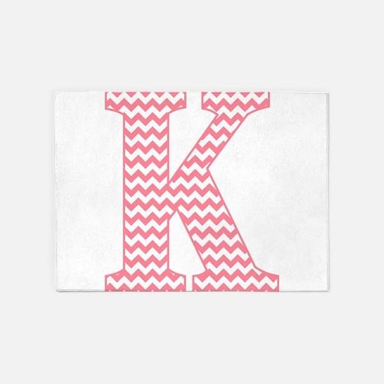 Pink Chevron Letter K Monogram 5'x7'Area Rug