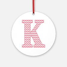 Pink Chevron Letter K Monogram Round Ornament