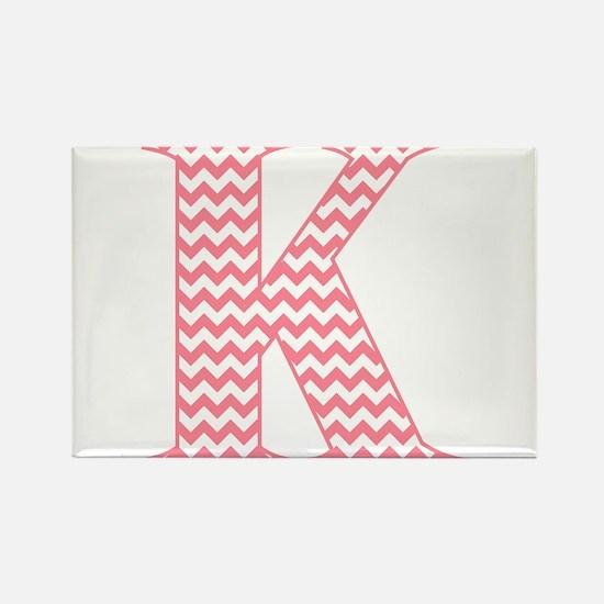 Pink Chevron Letter K Monogram Magnets
