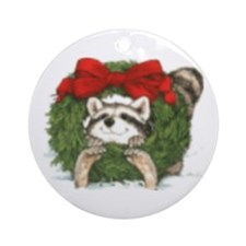 Racoon Wreath Ornament (Round)