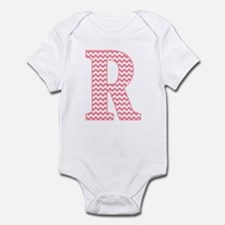 Pink Chevron Letter R Monogram Body Suit