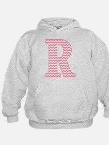 Pink Chevron Letter R Monogram Hoodie