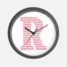 Pink Chevron Letter R Monogram Wall Clock