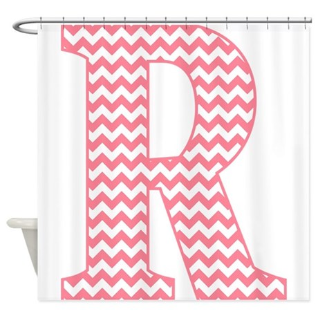 pink chevron letter r monogram shower curtain