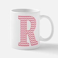 Pink Chevron Letter R Monogram Mugs