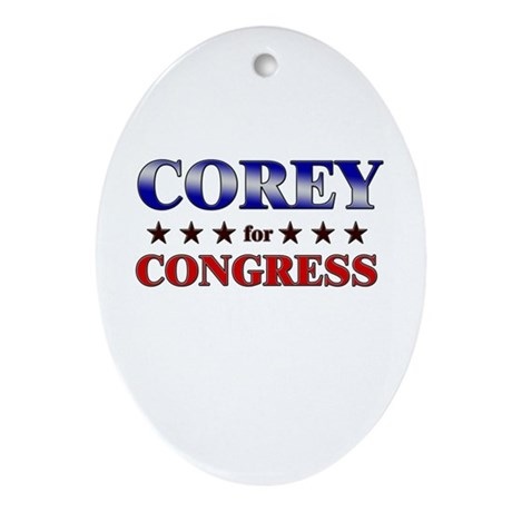 COREY for congress Oval Ornament