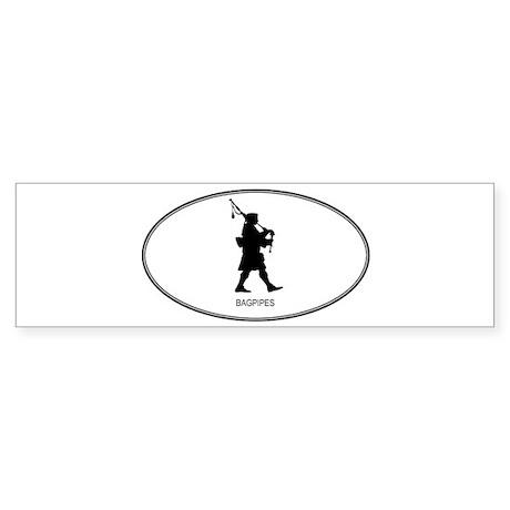 Bagpipes (euro-white) Bumper Sticker