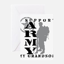 I Support Grandson 2 - ARMY Greeting Cards