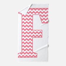 Pink Chevron Letter F Monogram Beach Towel