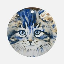 Funny Cat face Round Ornament