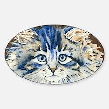 Cute Cat face Sticker (Oval)