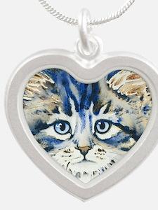 Cute Cat face Silver Heart Necklace