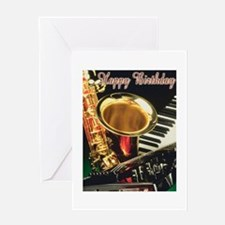 jazzbirthday2 Greeting Cards