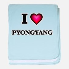 I love Pyongyang North Korea baby blanket