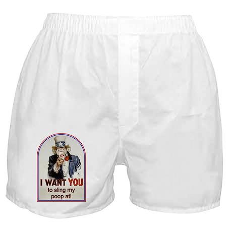 Monkey Slinging Poop Boxer Shorts