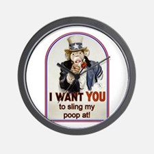 Monkey Slinging Poop Wall Clock