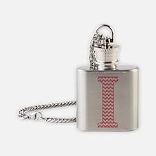 Pink Chevron Letter I Monogram Flask Necklace