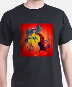 Two Colorful Fighting Roosters_pillo T-Shirt