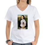 Mona's Old English Sheepdog Women's V-Neck T-Shirt