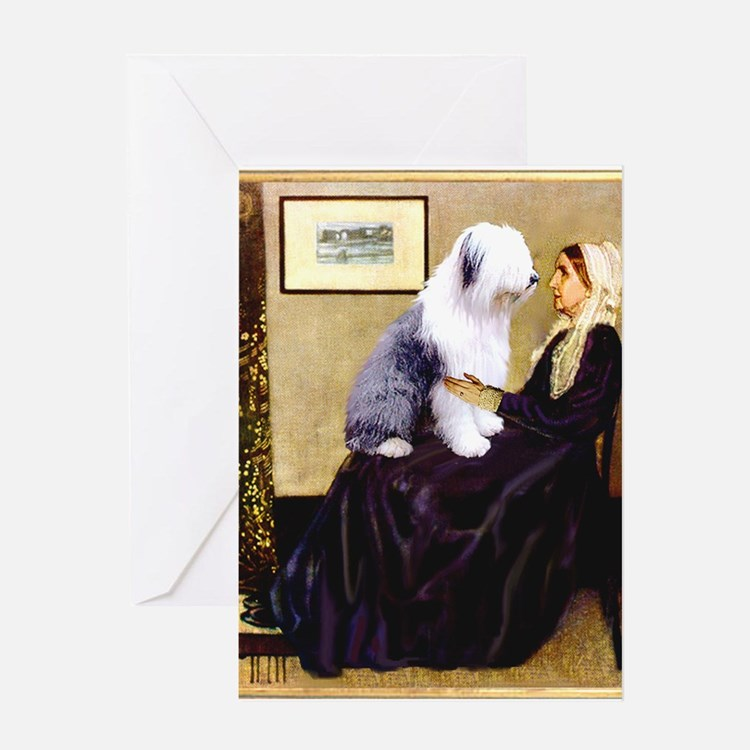 Mom's Old English Sheepdog Greeting Card