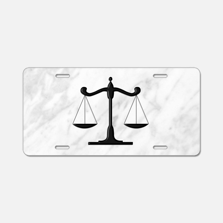 Scales of Justice Aluminum License Plate