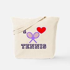 I Love Tennis Purple Tote Bag