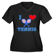 I Heart Tennis Blue Women's Plus Size V-Neck Dark