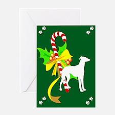 Candy Cane Greyhound Greeting Card