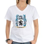 Mona's Black Poodle Women's V-Neck Dark T-Shirt