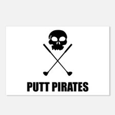 Golf Skull Crossed Putt Pirates Postcards (Package
