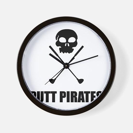 Golf Skull Crossed Putt Pirates Wall Clock