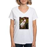 Windflowers / Poodle (BLk-ST) Women's V-Neck T-Shi