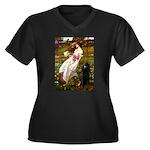 Windflowers / Poodle (BLk-ST) Women's Plus Size V-