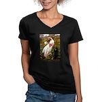 Windflowers / Poodle (BLk-ST) Women's V-Neck Dark