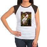 Windflowers / Poodle (BLk-ST) Women's Cap Sleeve T