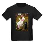 Windflowers / Poodle (BLk-ST) Kids Dark T-Shirt