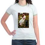 Windflowers / Poodle (BLk-ST) Jr. Ringer T-Shirt