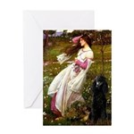 Windflowers / Poodle (BLk-ST) Greeting Card