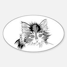 B&W Calico Kitten Oval Decal