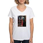 Tristan / Std Poodle(blk) Women's V-Neck T-Shirt