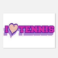 I Love Tennis Pink Postcards (Package of 8)