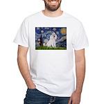 Starry Night / Std Poodle(w) White T-Shirt