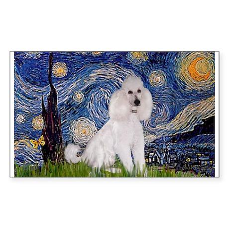 Starry Night / Std Poodle(w) Sticker (Rectangle)