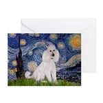 Starry Night / Std Poodle(w) Greeting Cards (Pk of