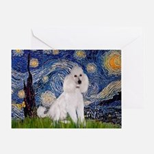 Starry Night / Std Poodle(w) Greeting Card