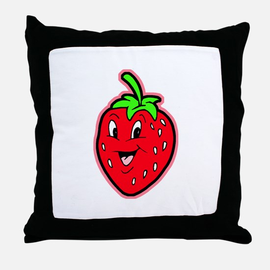 Happy Strawberry Throw Pillow