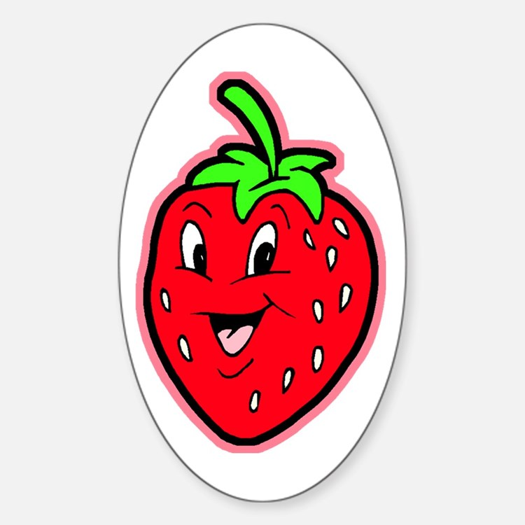 Happy Strawberry Oval Decal